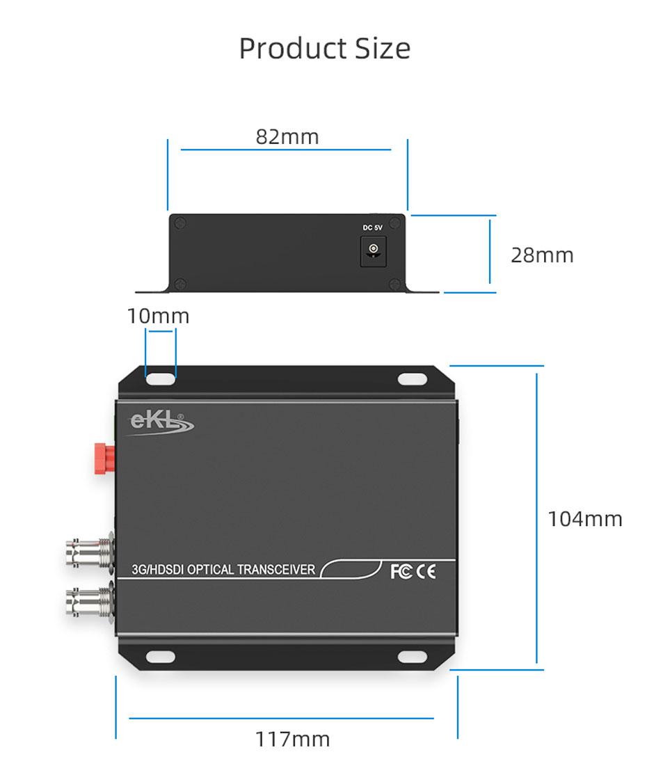 20 km SDI optical transceiver SDF01 length 117mm; width 104mm; height 28mm