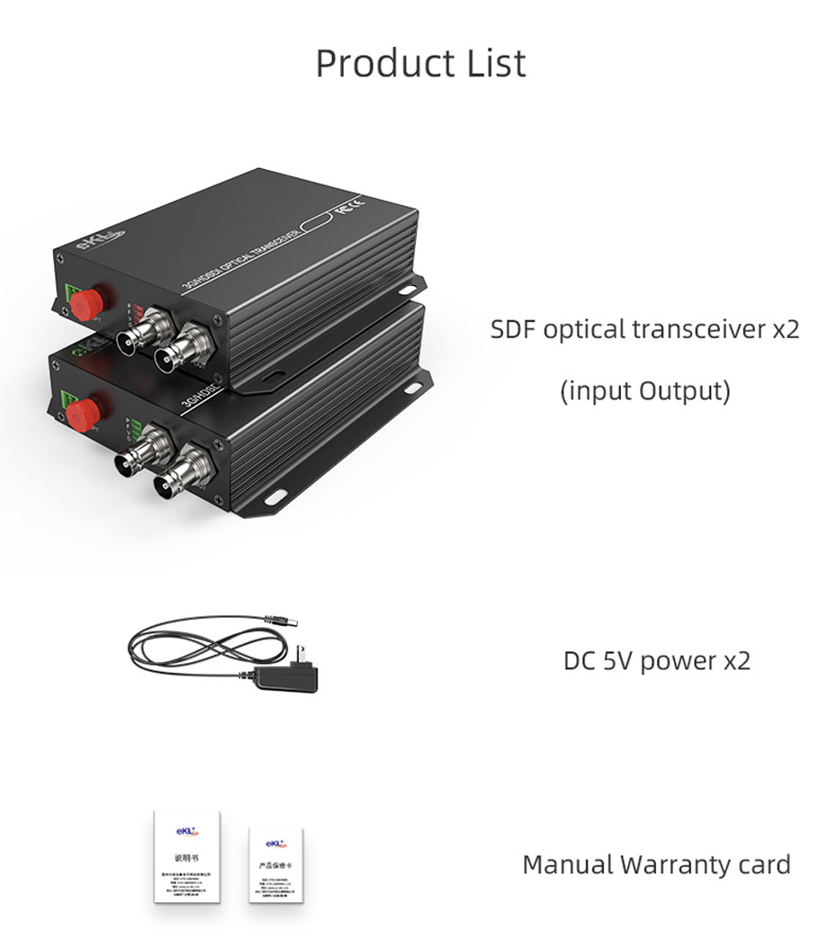 20km SDI optical transceiver SDF01 standard accessories
