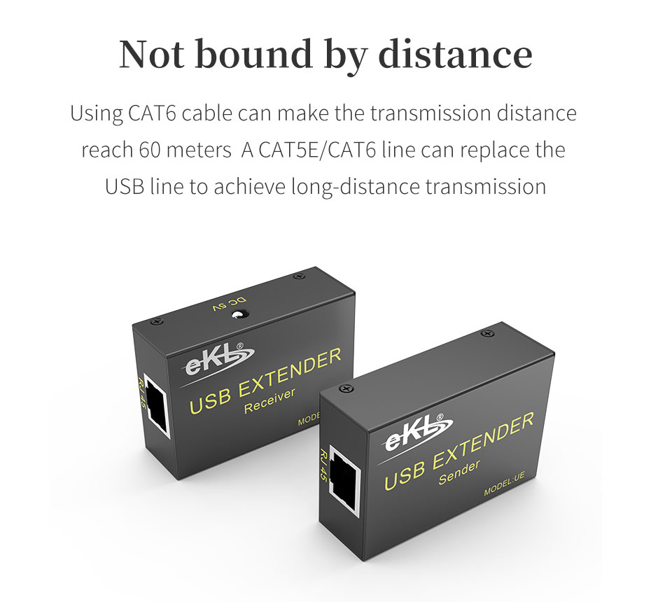 The USB mouse and keyboard extender UE can extend the USB signal by 60 meters with a CAT6 network cable