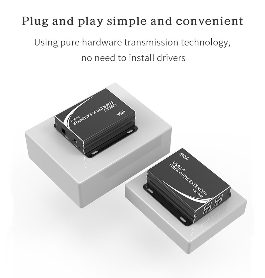 USB fiber optic extender UF01 supports plug and play, no need to install drivers