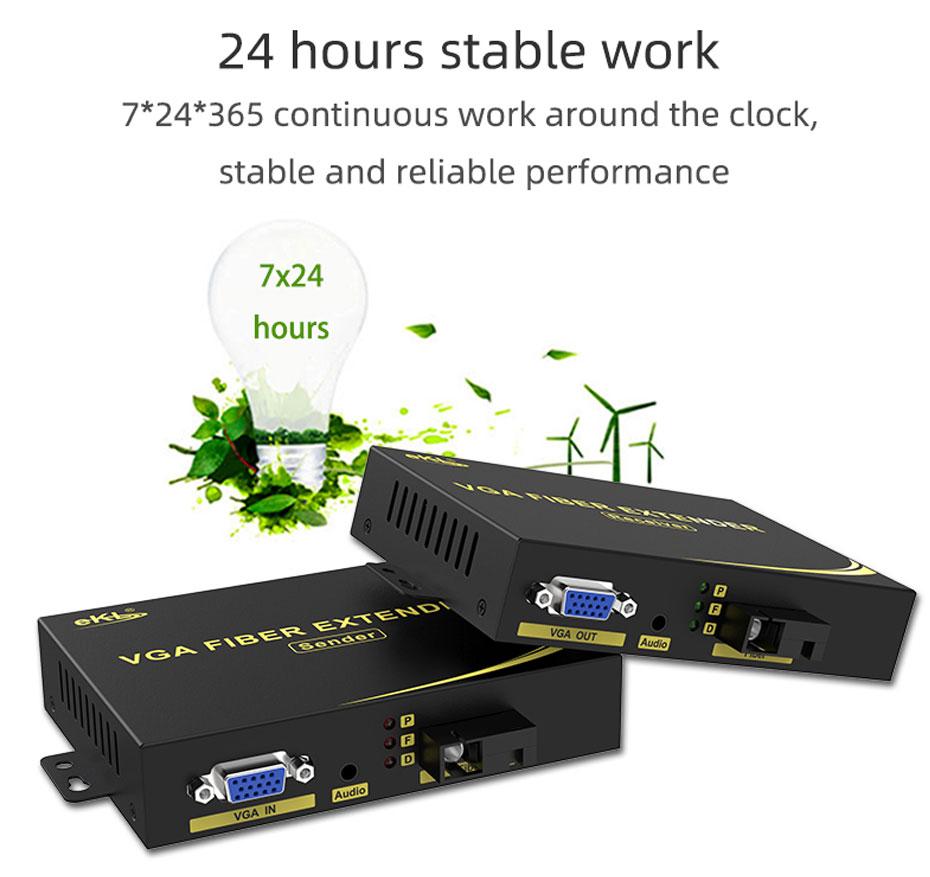 VGA fiber optic extender VF200 7*24*365 stable work