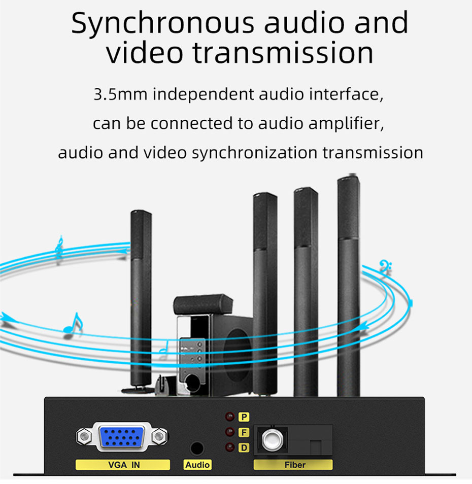 VGA fiber optic extender VF200 supports simultaneous audio and video transmission