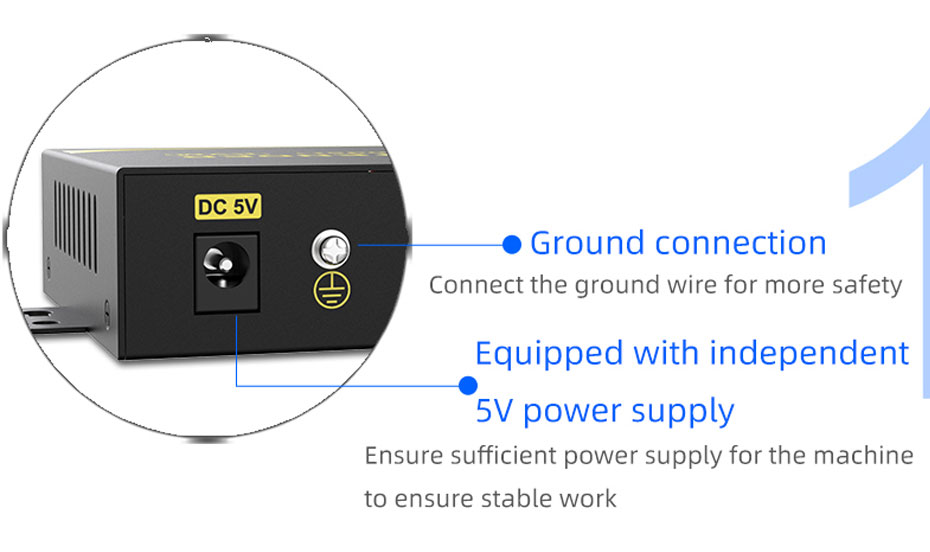 VGA fiber optic extender VF200 adopts independent 5V power supply and ground interface design