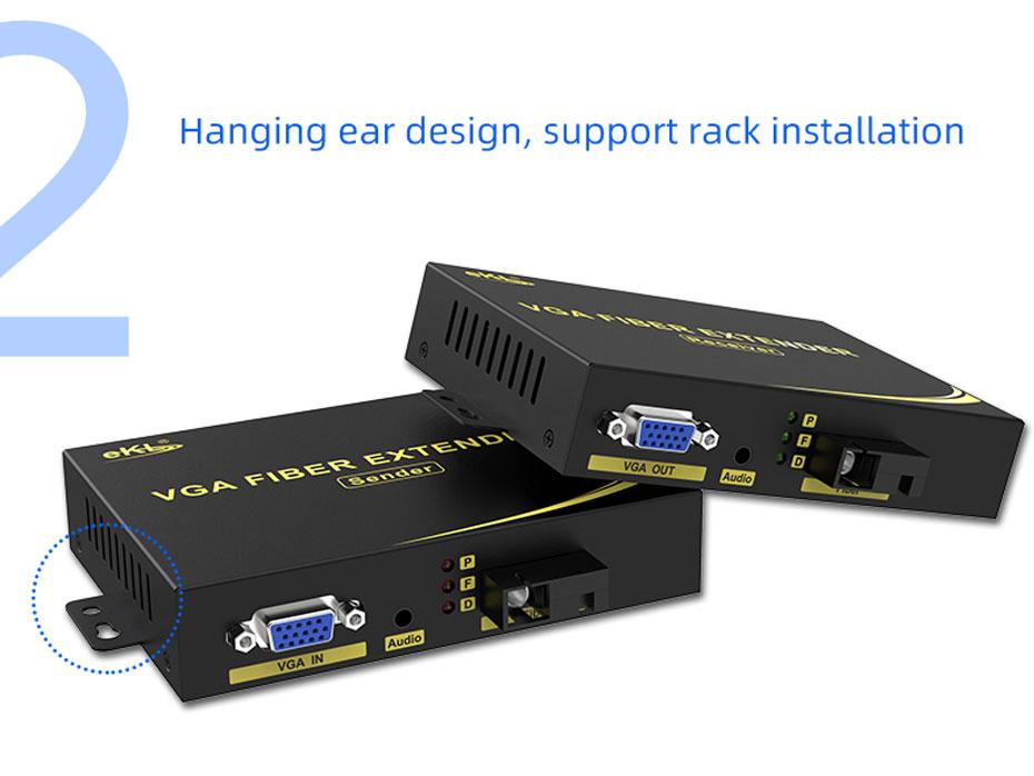 VGA fiber optic extender VF200 supports rack installation