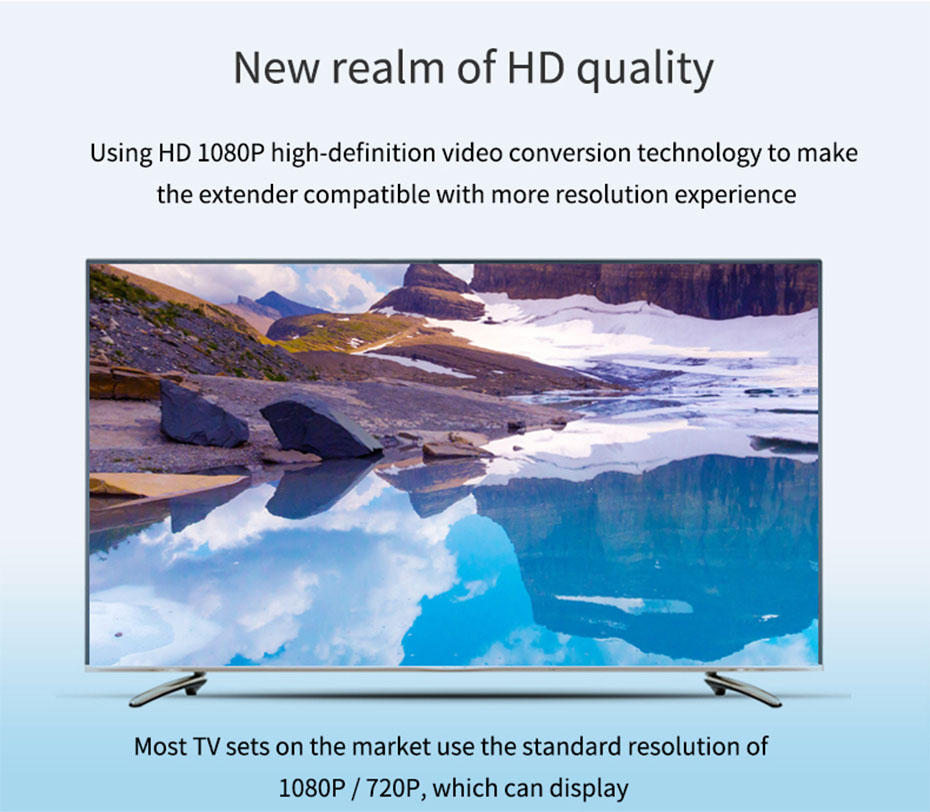 HDMI extender WE100 supports 1920*1080p@60Hz HD resolution