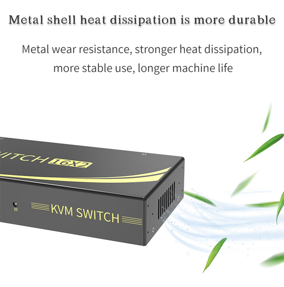 Industrial-grade 16-in and 2-out HDMI KVM switch 161HK adopts side-opening heat dissipation design