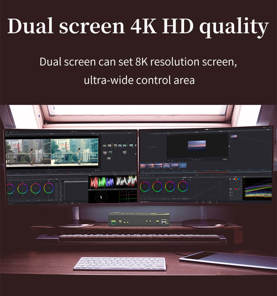 Dual screen HDMI KVM switch 212HK supports dual screen splicing into 8K resolution