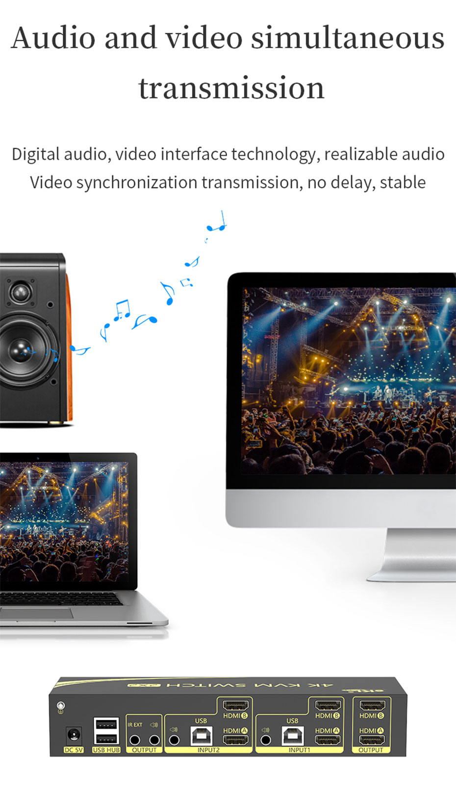 Dual screen HDMI KVM switch 212HK supports simultaneous audio and video transmission
