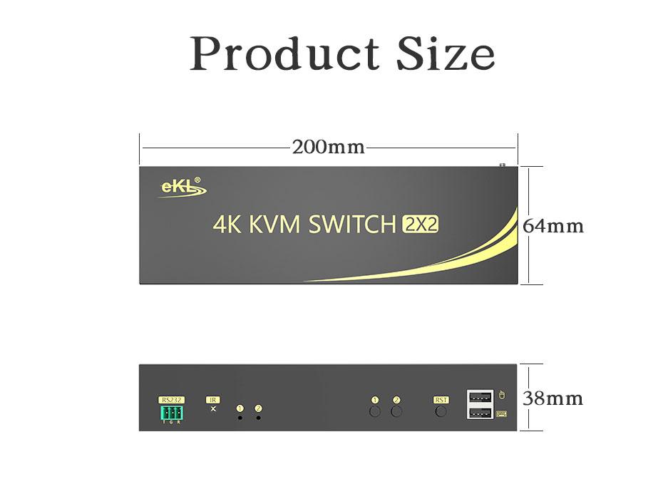 Dual screen HDMI KVM switch 212HK length: 200mm; width: 64mm; height: 38mm