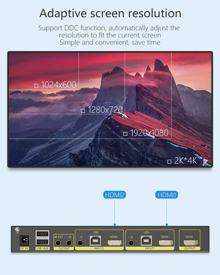 2 in 1 out HDMI KVM switcher 21hk2.0 supports adaptive screen resolution