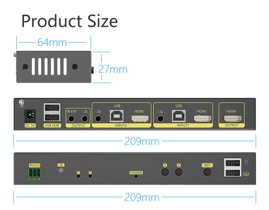 2 in 1 out HDMI KVM switch 21hk2.0 length 209mm; width 64mm; height 27mm