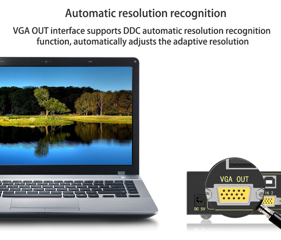 VGA KVM switch 2 in 1 out 21U supports DDC function, can automatically identify the resolution