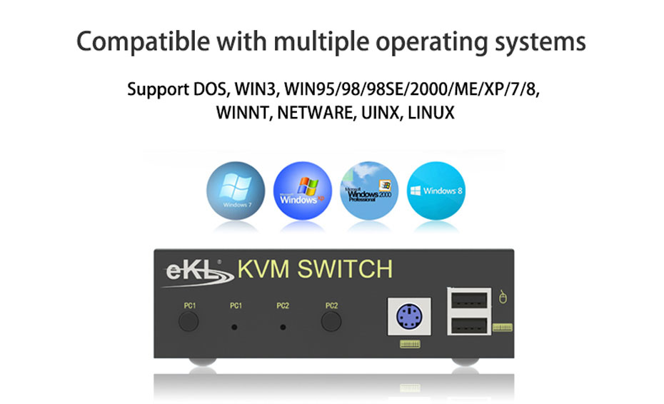 VGA KVM switch 2 in 1 out 21U compatible with multiple operating systems