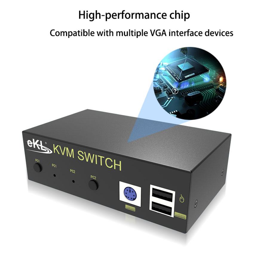 VGA KVM switch 2 in 1 out 21U uses high-performance chips