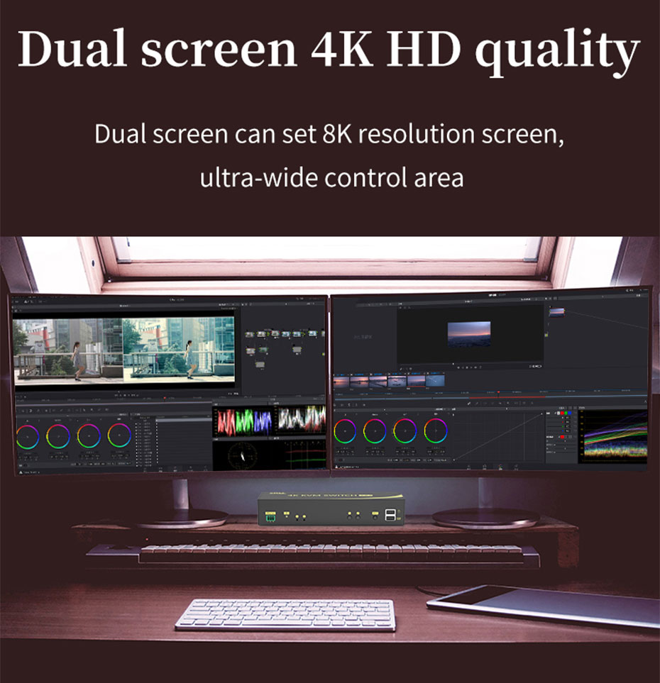 HDMI 2.0 KVM switch 4 in 2 out 412HK supports dual-screen simultaneous switching