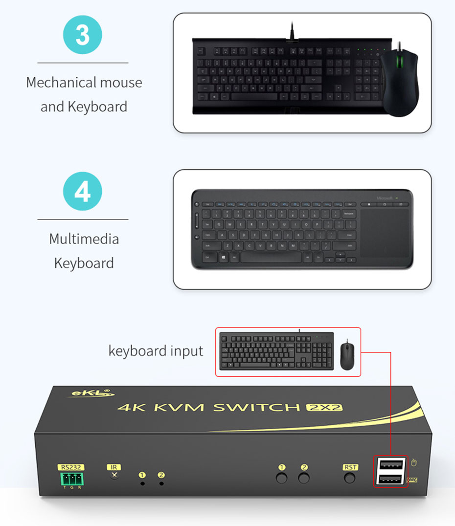 HDMI 2.0 KVM switch 4 in 2 out 412HK keyboard and mouse switch instructions