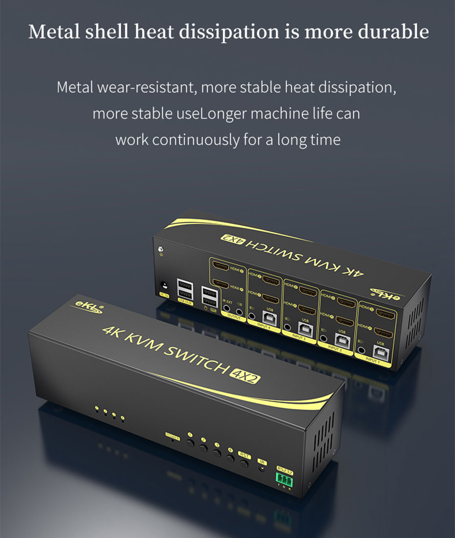 HDMI 2.0 KVM switch 4 in 2 out 412HK uses a metal body, which is durable and easy to dissipate heat