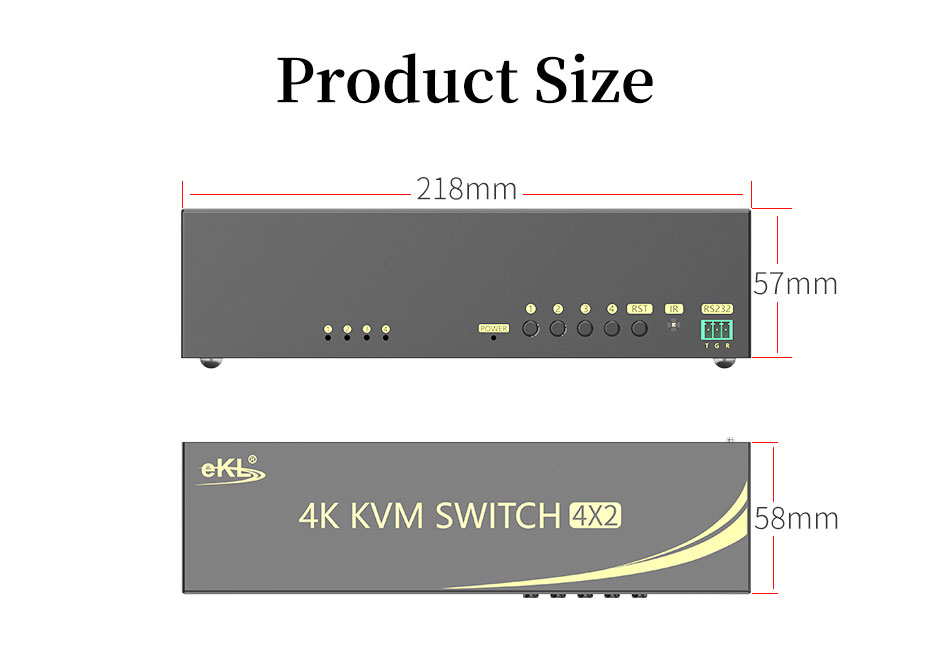 HDMI 2.0 KVM switch 4 in 2 out 412HK specifications