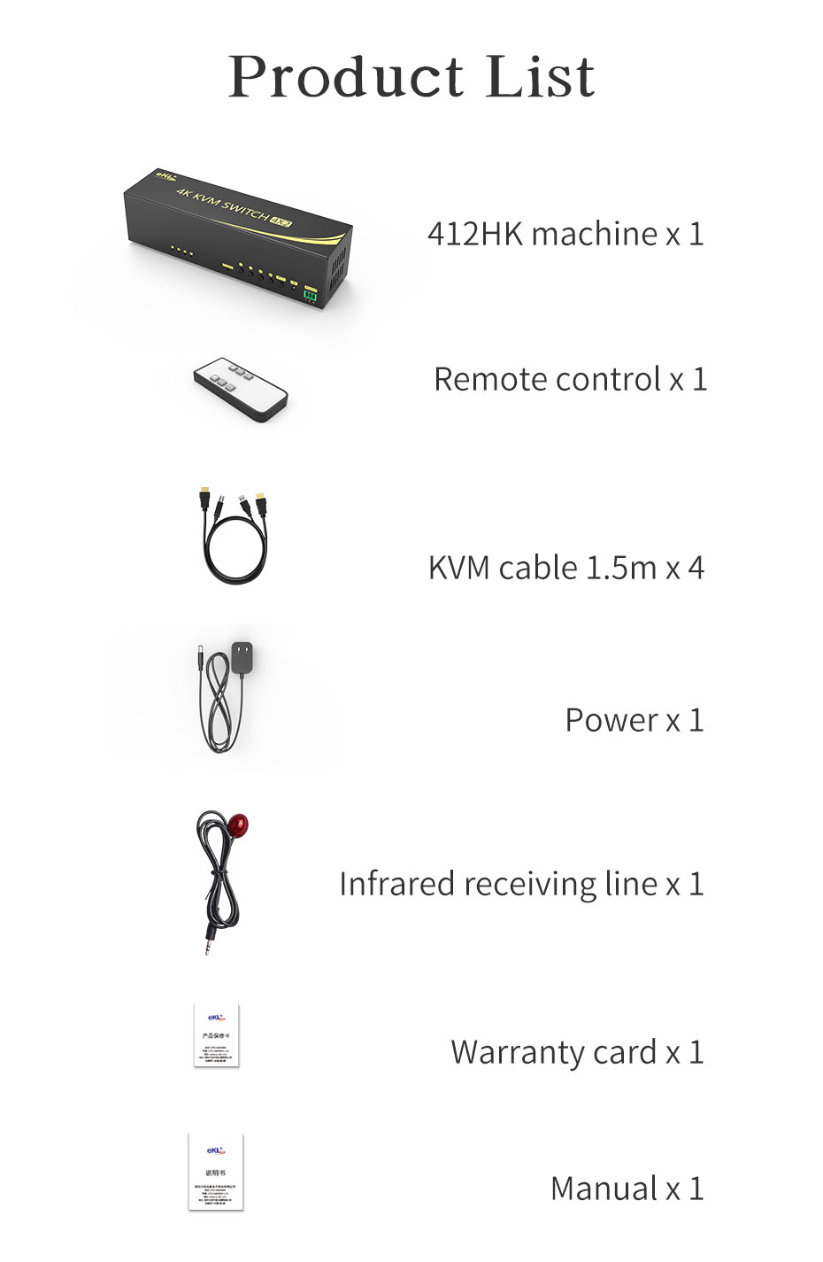 HDMI 2.0 KVM switch 4 in 2 out 412HK standard accessories