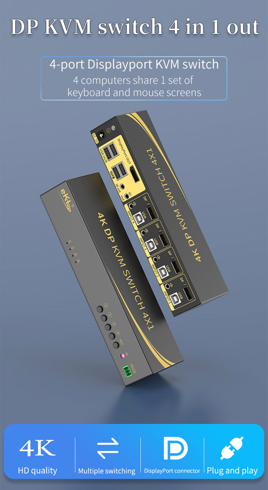 DP KVM switch 4 in 1 out 41DP
