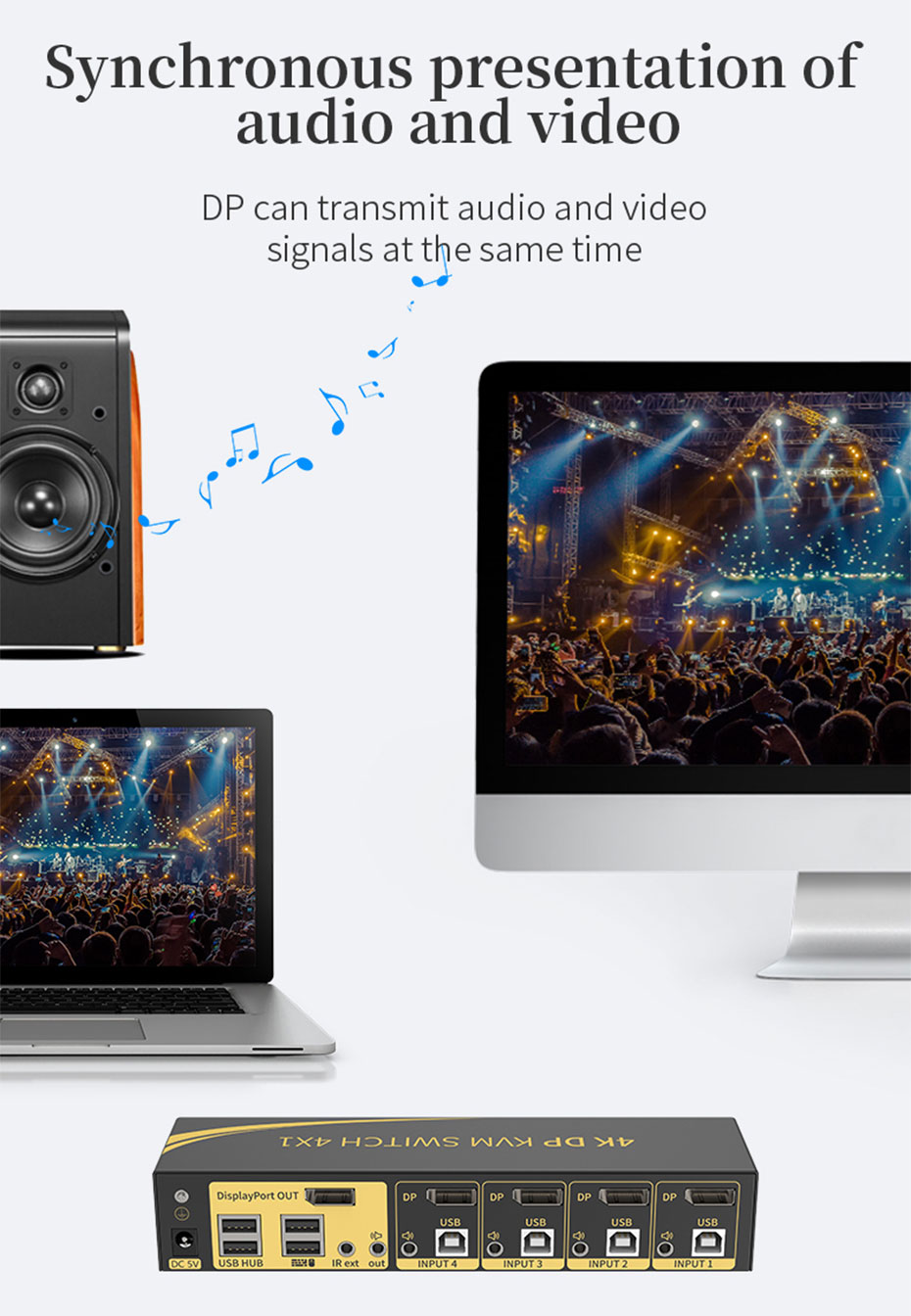 DP KVM switch 4 in 1 out 41DP supports simultaneous audio and video transmission