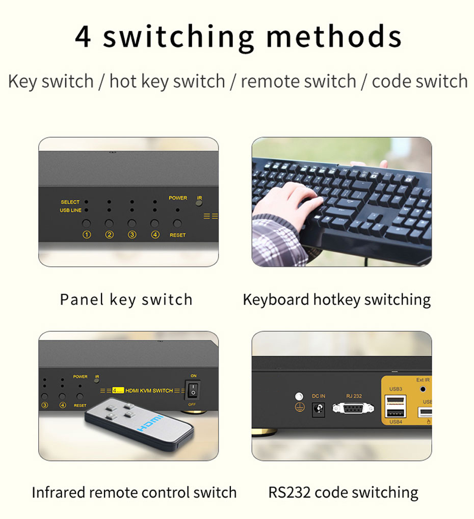 HDMI KVM switch 4 in 1 out 41hk supports four switching methods