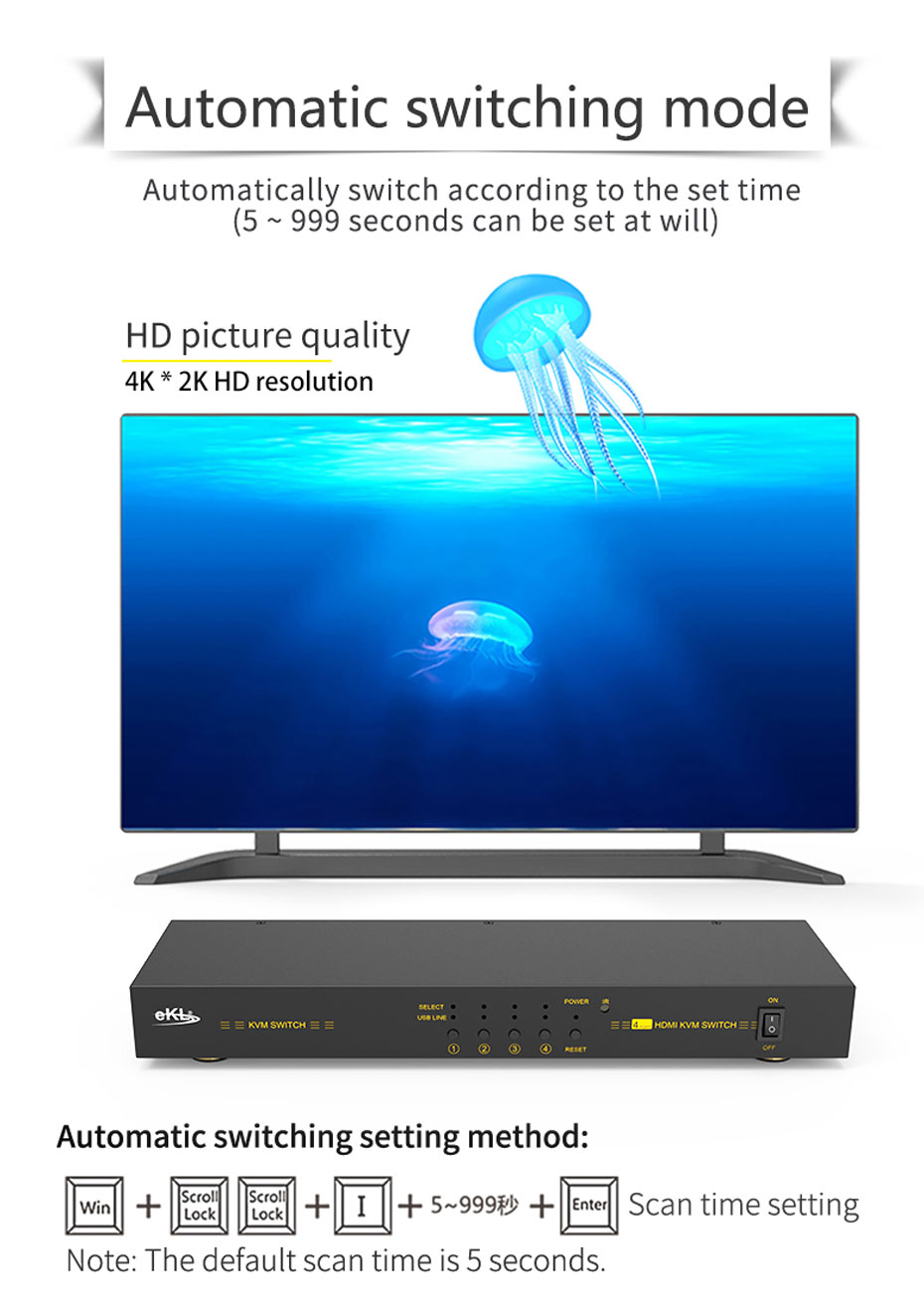 HDMI KVM switch 4 in 1 out 41hk automatic switching method setting