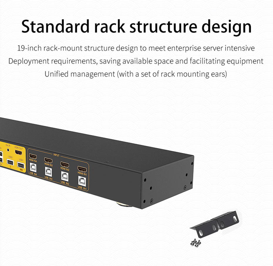 4-port HDMI KVM switch 41hk adopts standard rack structure design