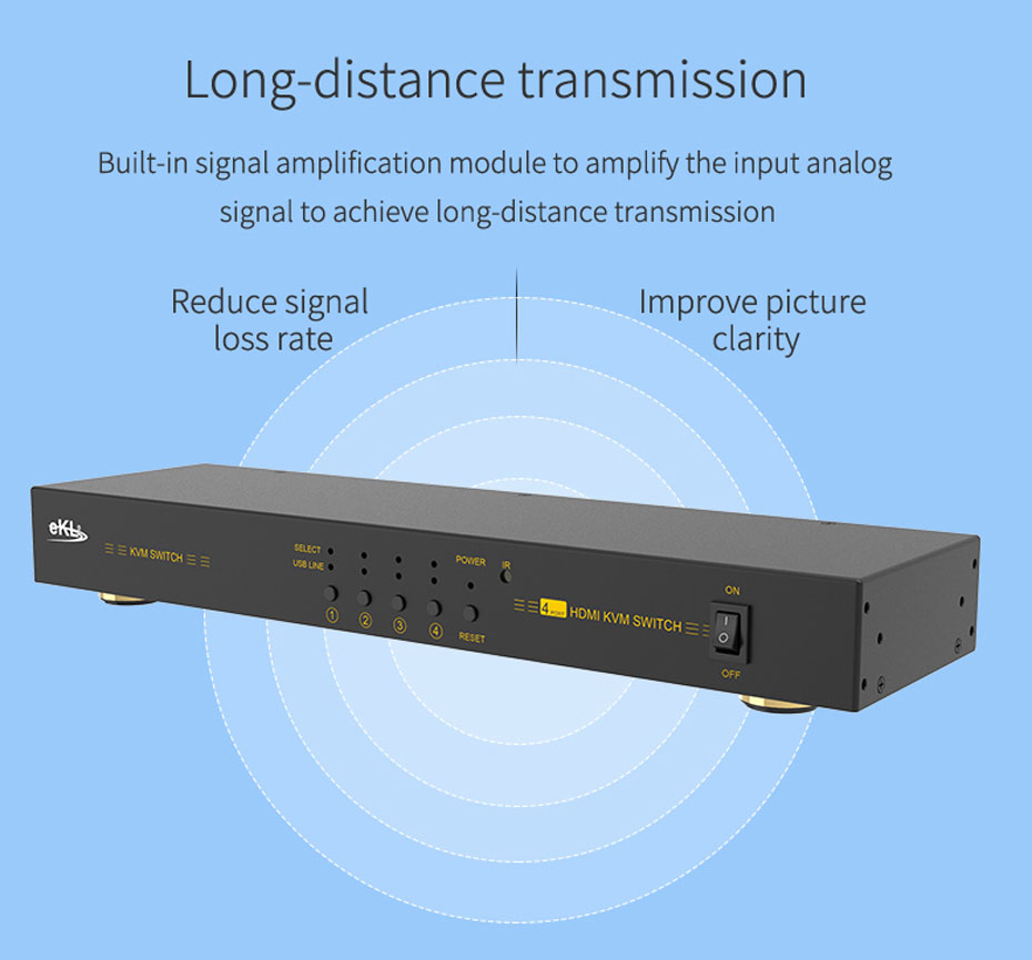 HDMI KVM switch 4 in 1 out 41hk supports signal amplification function