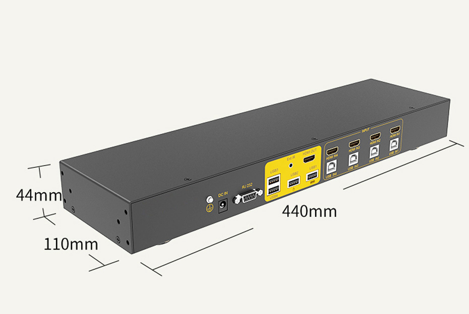 HDMI KVM switch 4 in 1 out 41HK length: 440mm; width: 110mm; height: 44mm