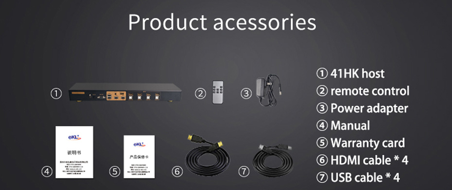 hdmi kvm switch 4 in 1 out 41hk standard accessories
