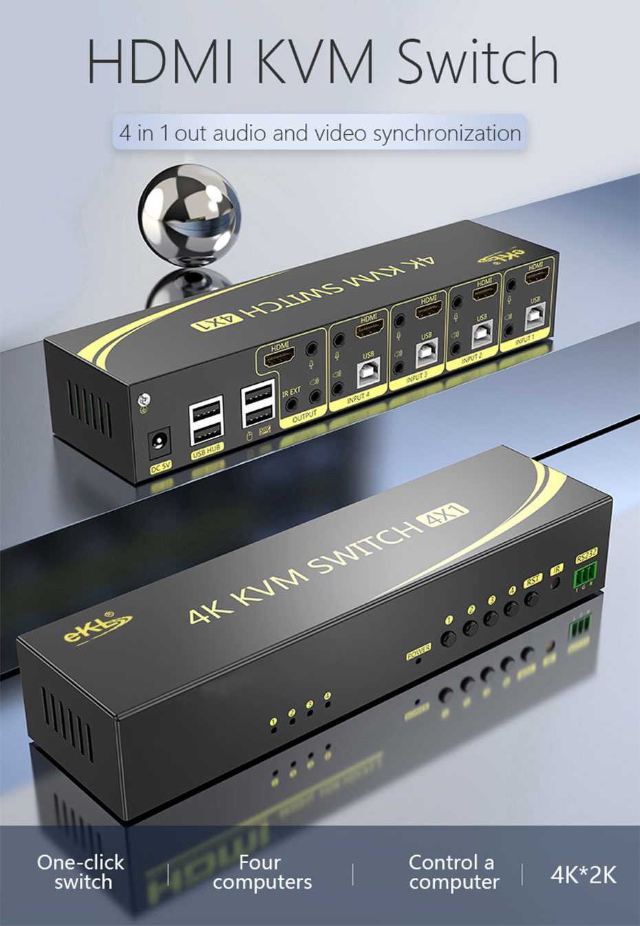 4 in 1 out HDMI2.0 KVM switch 41HK2.0