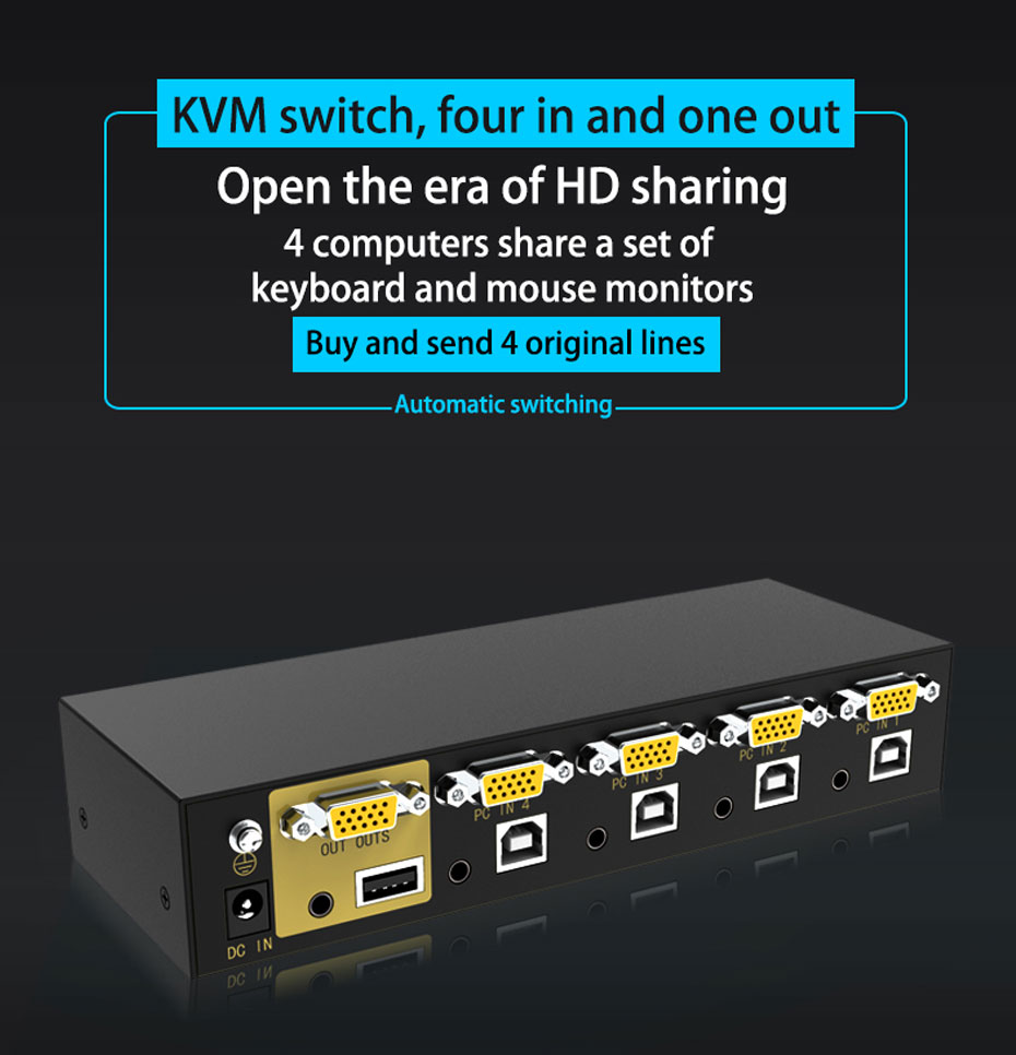 VGA KVM switch 4 in 1 out 41U four in and one out