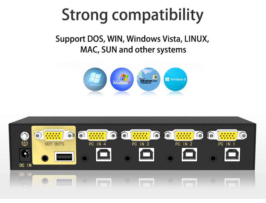 VGA KVM switch 4 in 1 out 41U compatible with mainstream systems