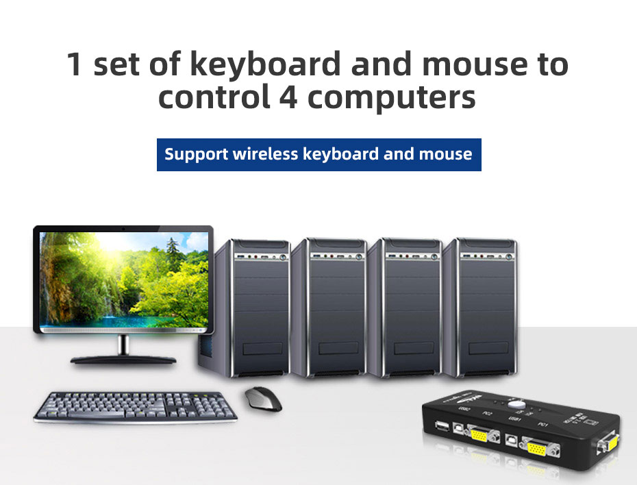 VGA KVM switch 4 in 1 out 41UA 1 set of keyboard and mouse to control 4 computers