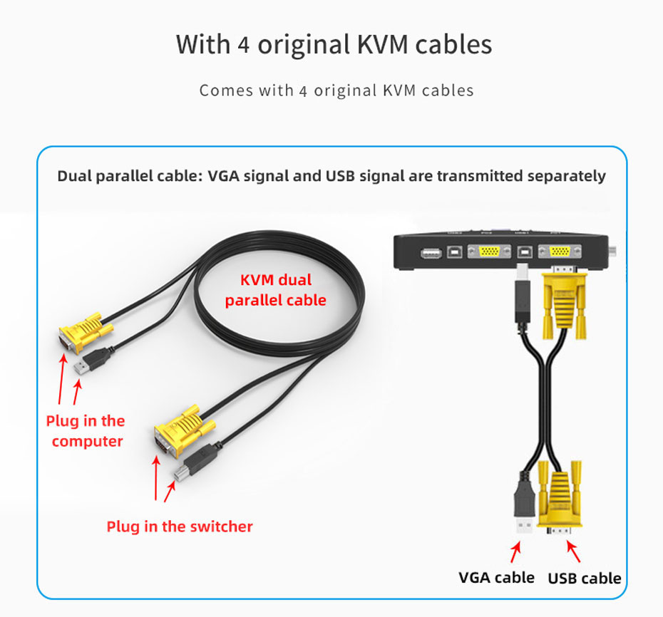 VGA KVM switch 4 in 1 out 41UA with 4 VGA KVM cables