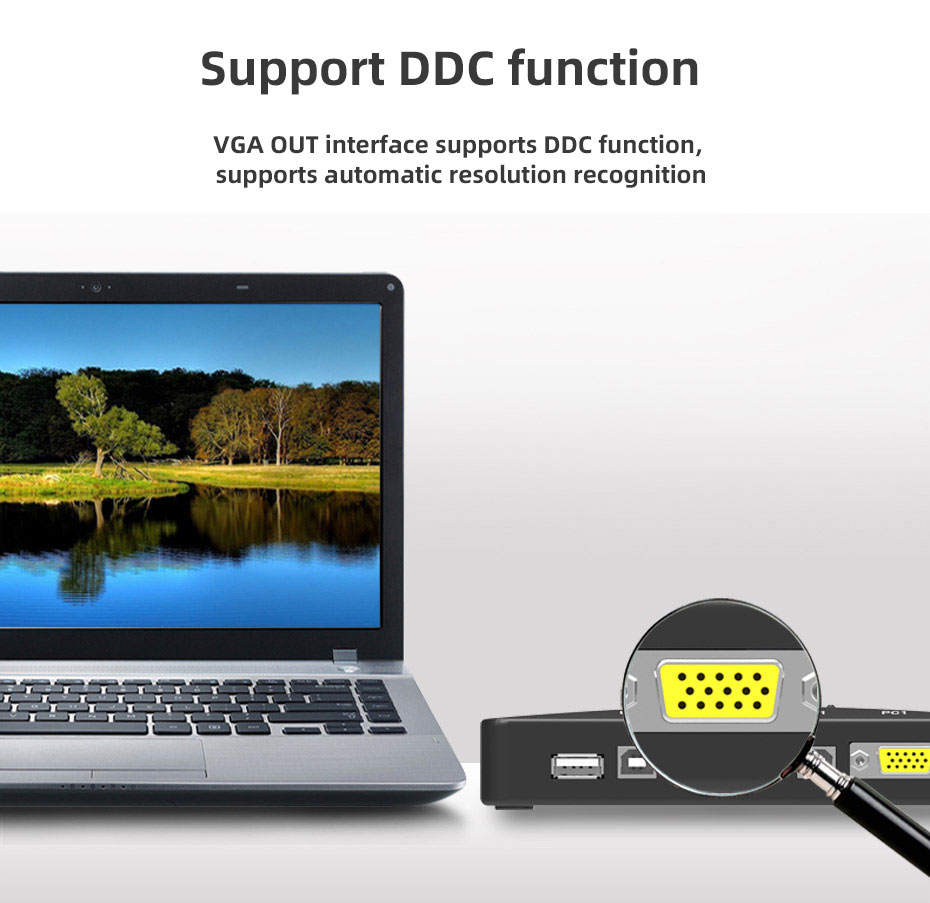 VGA KVM switch 4 in 1 out 41UA supports DDC function, can automatically identify the resolution