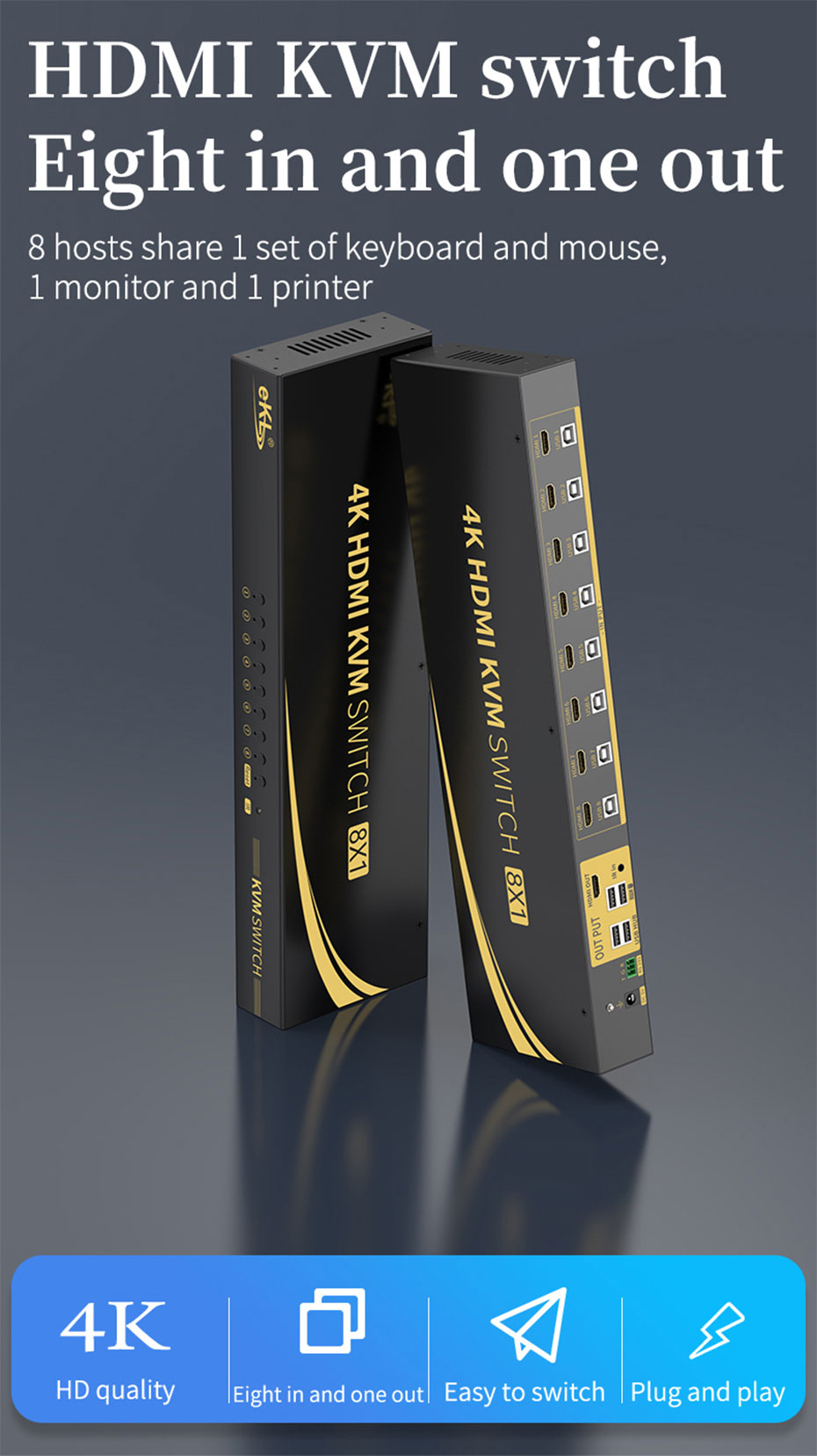 HDMI KVM switch 8 in 1 out 81HK