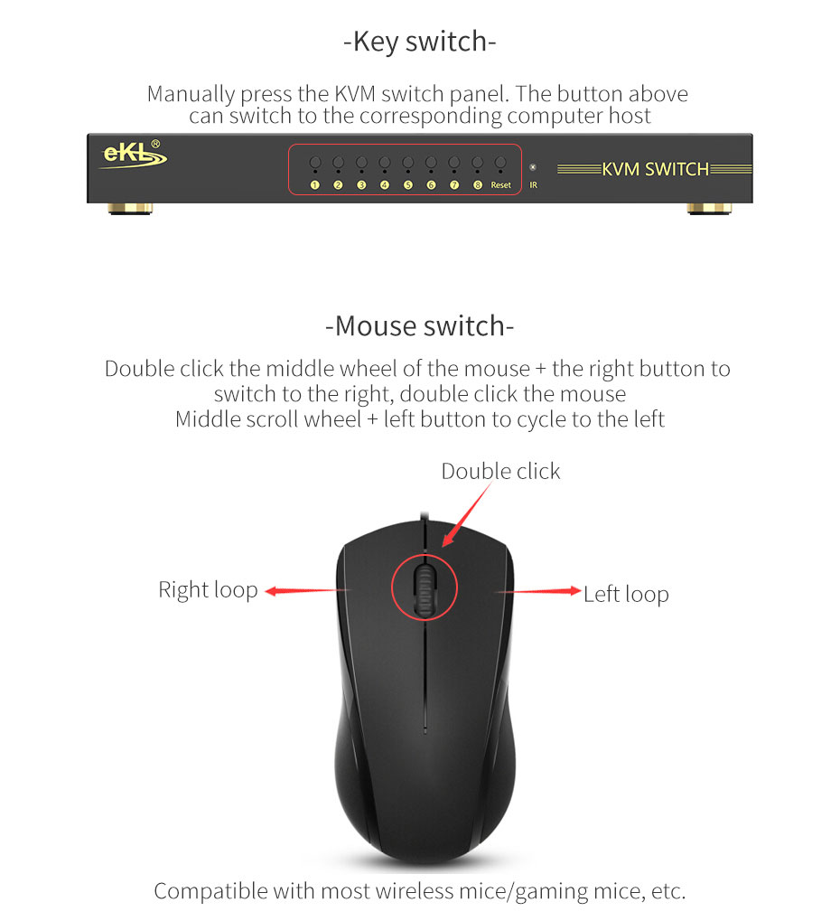 HDMI KVM switch 8 in 1 out 81HK supports key switch, mouse switch