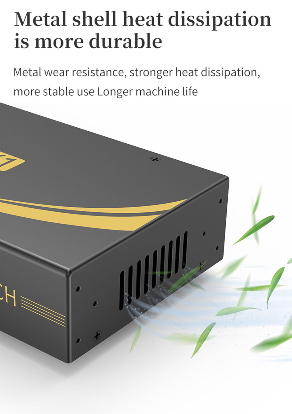 HDMI KVM switch 8 in 1 out 81HK adopts all metal body design, durable and easy to dissipate heat