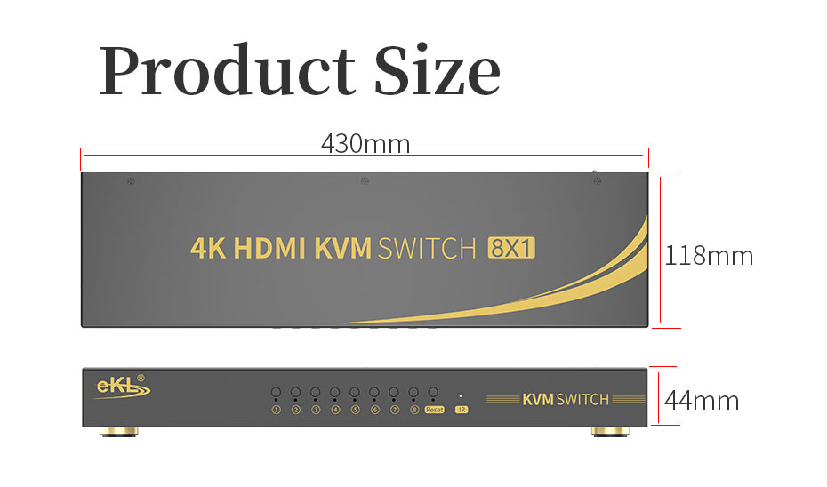 HDMI KVM switch 8 in 1 out 81HK length: 430mm; width: 118mm; height: 44mm