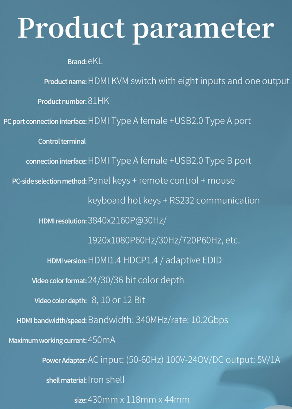 HDMI KVM switch 8 in 1 out 81HK specifications