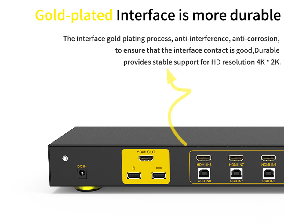 HDMI KVM switch 8 in 1 out 81HK uses gold-plated HDMI interface