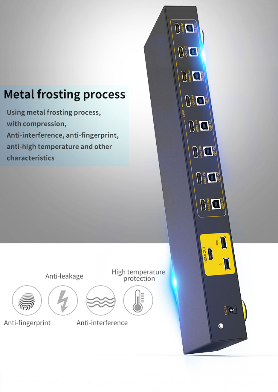 HDMI KVM switch 8 in 1 out 81HK uses metal frosting process