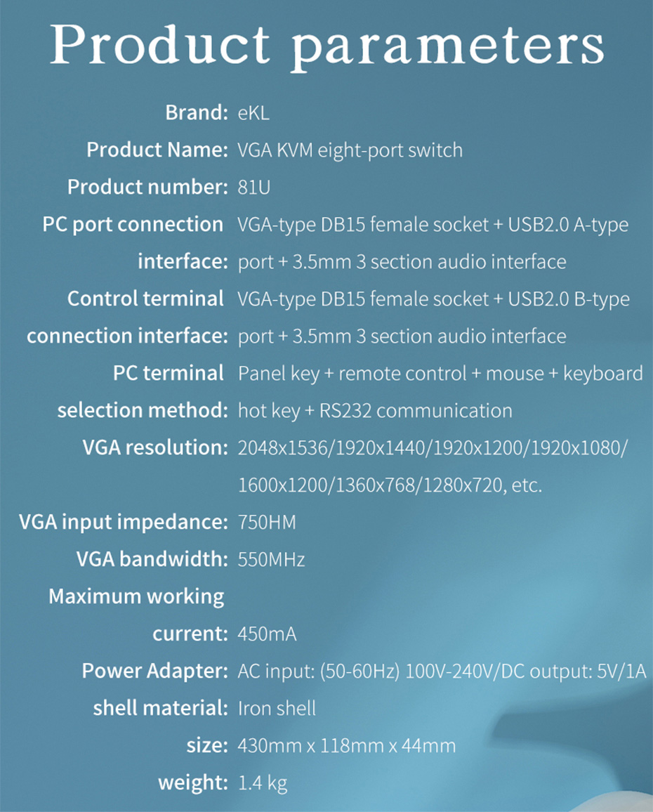 VGA KVM switch 8 in 2 out 81U specifications