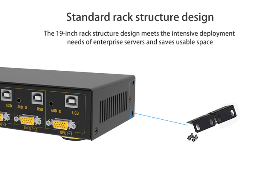 VGA KVM switch 8 in 1 out/2 out 81UA adopts rack structure design