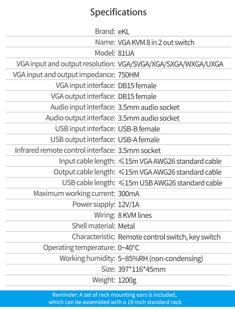 VGA KVM switch 8 in 1 out/2 out 81UA specifications