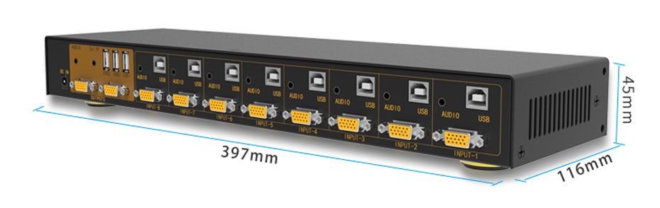 VGA KVM switch 8 in 1 out/2 out 81UA length: 397mm; width: 116mm; height: 45mm