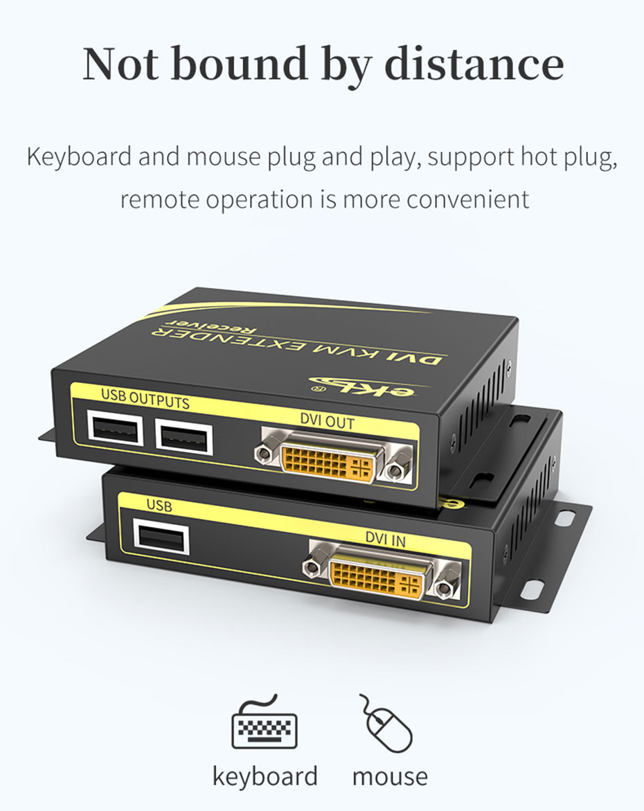 100m DVI KVM single network cable extender DCK100 supports plug and play, hot plug