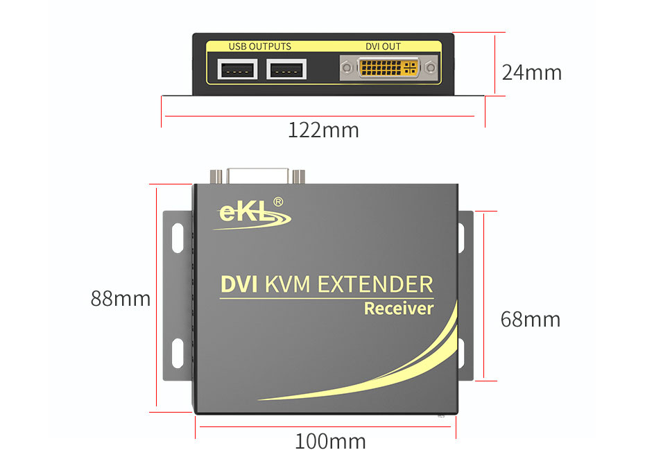 100m DVI KVM single network cable extender DCK100 receiver length 122mm; width 88mm; height 24mm
